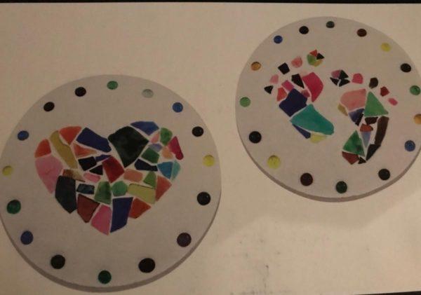 2 circle shaped stepping stones