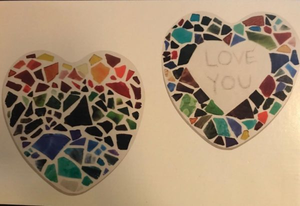 2 heart shaped stepping stones